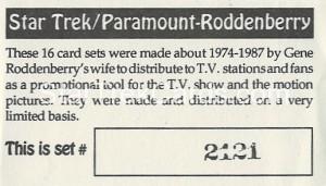 Star Trek Gene Roddenberry Promotional Set 2121 Trading Card 1