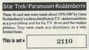Star Trek Gene Roddenberry Promotional Set 2110 Card 1