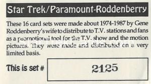 Star Trek Gene Roddenberry Promotional Set 2125 Trading Card 1