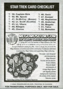 Mego Museum Card Checklist Back