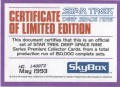 Star Trek Deep Space Nine Series Premiere Limited Edition Certificate