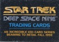 Star Trek Deep Space Nine Series Premiere Promo Card