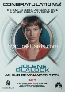 Star Trek Enterprise Season Three Autograph Jolene Blalock Back