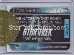 Star Trek Movies Collectors Set Chris Pine Autograph Back