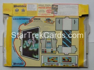 Star Trek The Motion Picture Weetabix Box U.S.S. Enterprise Bridge Back