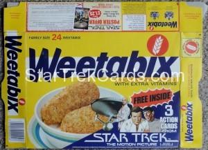 Star Trek The Motion Picture Weetabix Box U.S.S. Enterprise Bridge Front