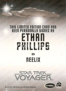 Star Trek Voyager Heroes Villains Autograph Ethan Phillips Back