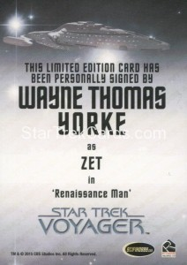 Star Trek Voyager Heroes Villains Autograph Wayne Thomas Yorke Put her behind the force field Back1