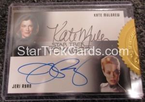 Star Trek Voyager Heroes Villains Dual Autograph Mulgrew and Ryan Front Black Variant